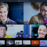 Screen shot showing 4 people in a Teams video call plus apps and share desktop bar below