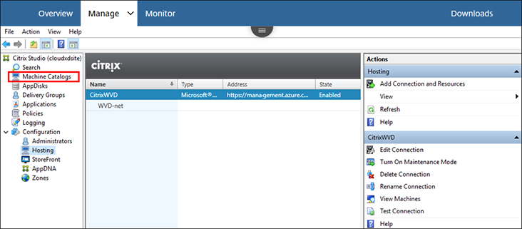 Image: WVD Citrix management screen