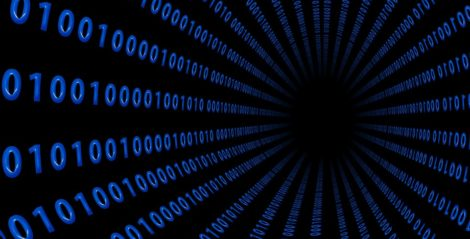 Image: binary code going into a black hole
