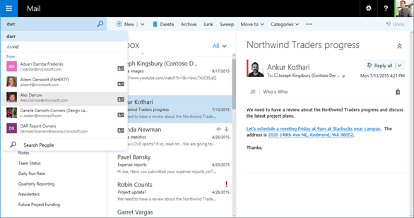 Image: Exchange mail screen