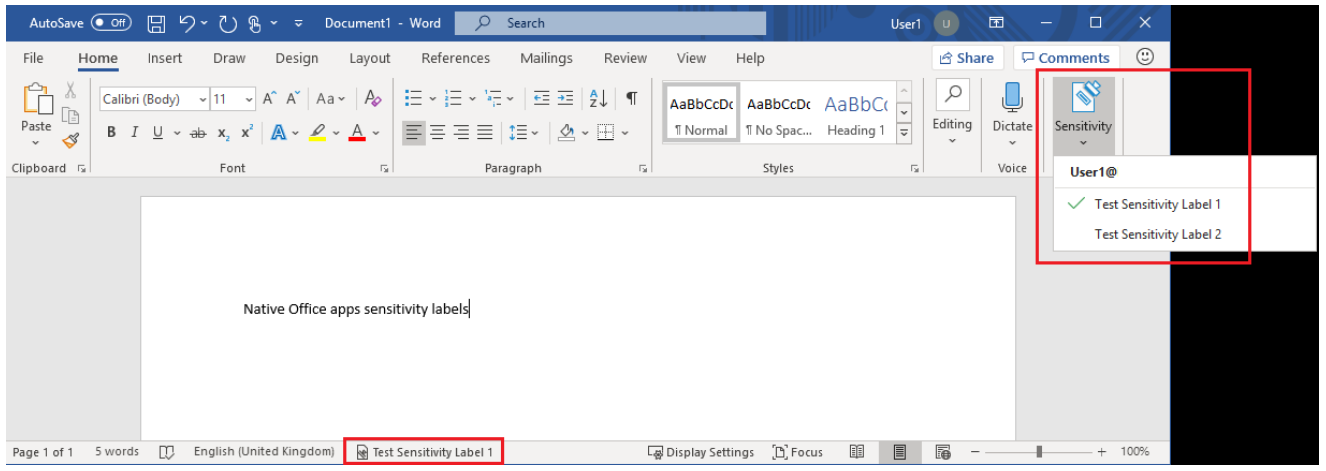 Image: Sensitivity labels - uninstalled AIP Unified Labelling client