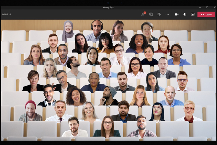 Image: Microsoft Teams meeting showing Together mode